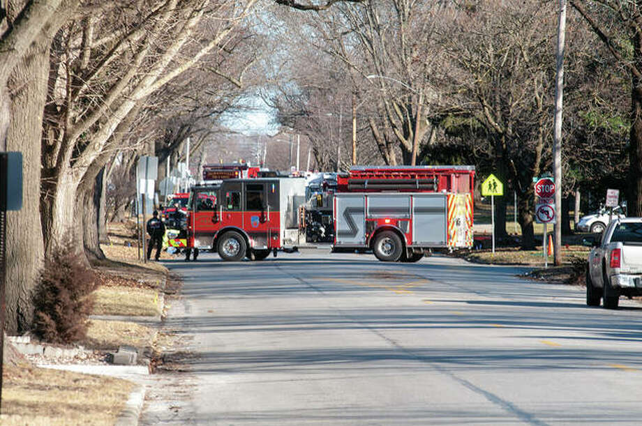 A gas leak Thursday near Diamond Street resulted in the closing of a portion of College Avenue. Jacksonville police and firefighters were redirecting traffic while utility workers corrected the issues mid-afternoon. Photo: Darren Iozia   Journal-Courier