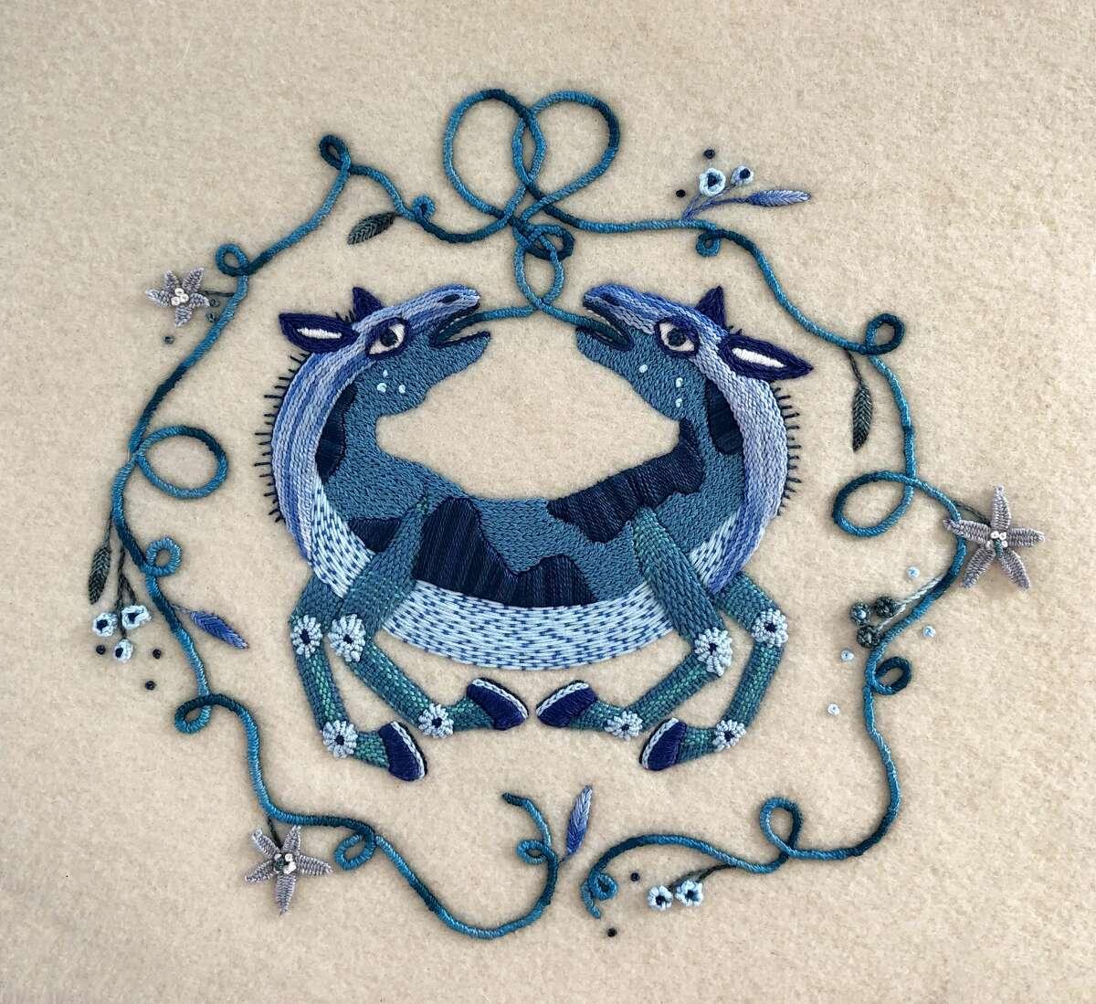 """Self-Love,"" embroidery on wool, 16"" x 16"""