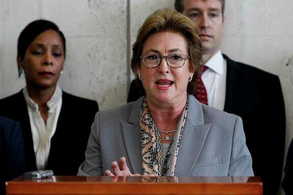 Harris County District Attorney Kim Ogg announces that a county grand jury returned indictments against former Houston Police Department officers Gerald Goines and Steven Bryant during a press conference at the Harris County District Attorney's Office on Wednesday, Jan. 15, 2020.
