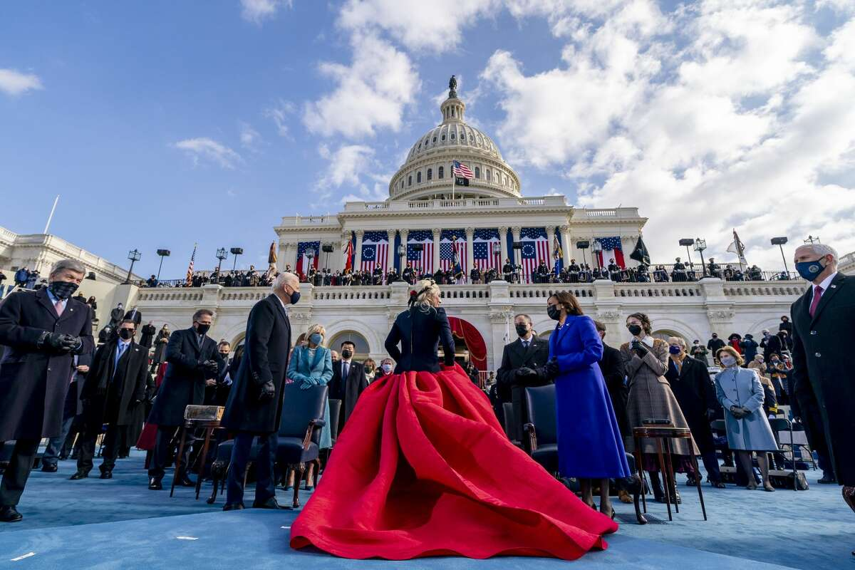 Bright, jeweled-toned outwear was on full display at the Biden-Harris Inauguration.