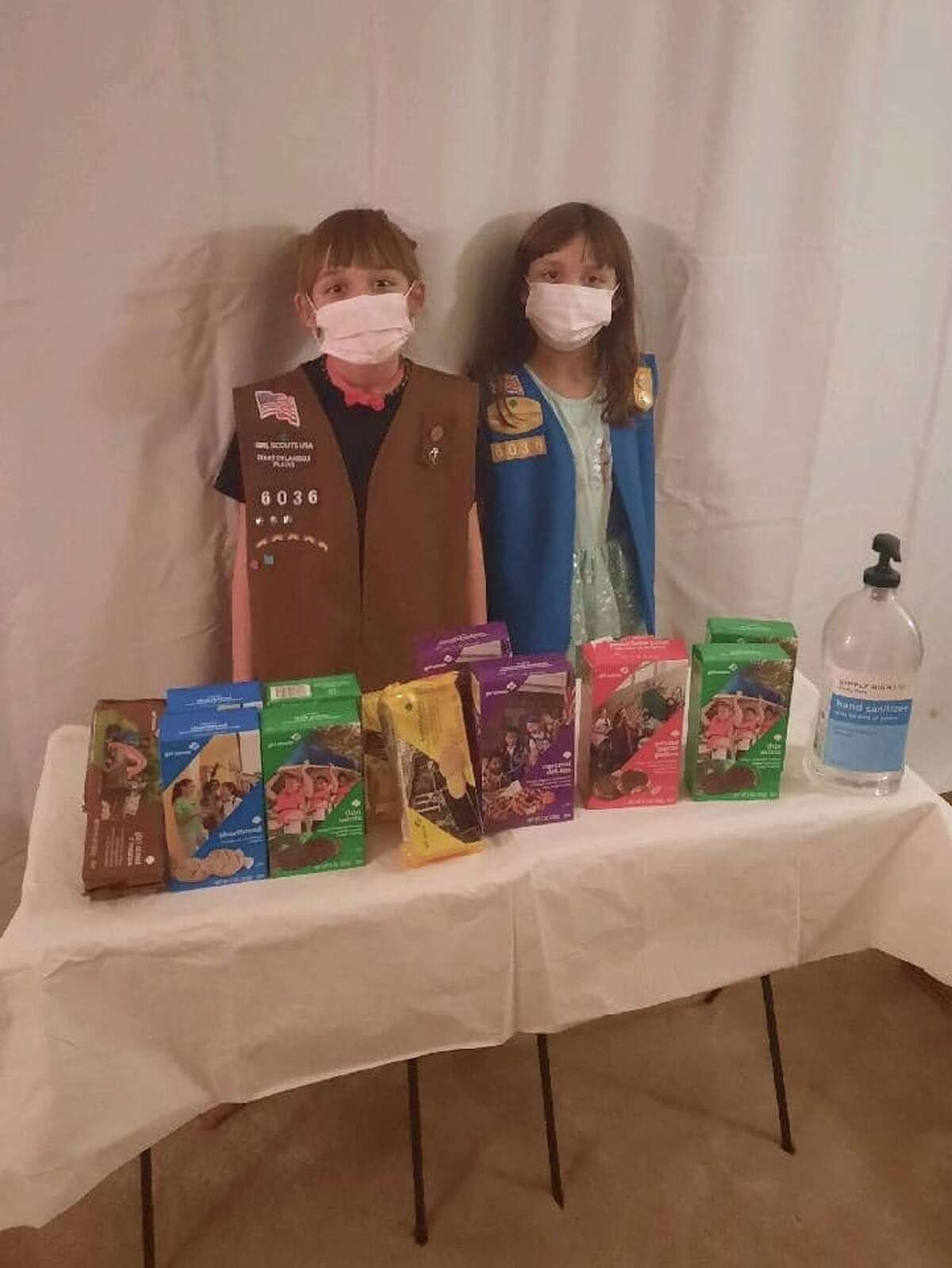 Cookie season is here and local Girl Scouts will be selling boxes until March 7. Pictured (L-R): Makayla and Rebecca of Girl Scout Troop 6036