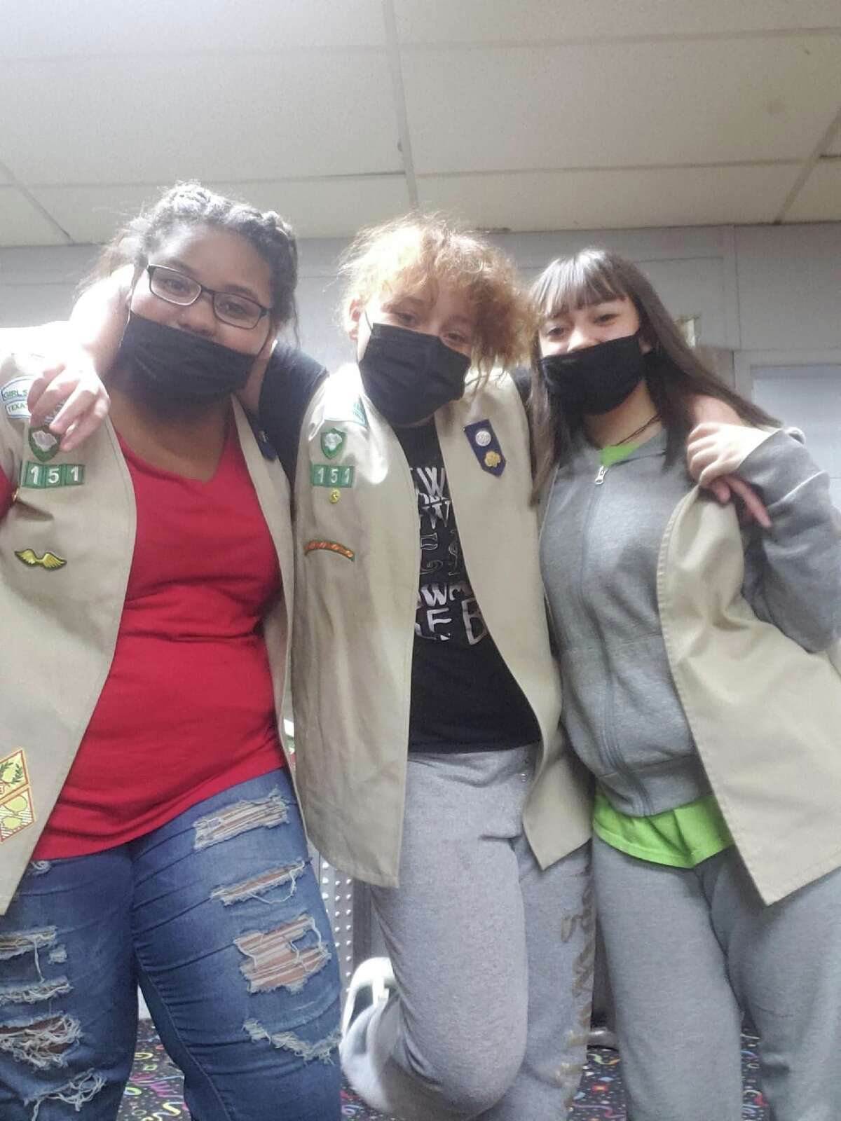 Cookie season is here and local Girl Scouts will be selling boxes until March 7. Pictured (L-R): Sapphire, Diamond and Marissa of Girl Scout Troop 6151