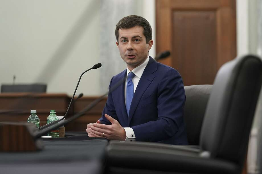 Transportation Secretary nominee Pete Buttigieg speaks during a Senate Commerce, Science and Transportation Committee confirmation hearing on Capitol Hill, Thursday, Jan. 21, 2021, in Washington. (Stefani Reynolds/Pool via AP) Photo: Stefani Reynolds, Associated Press