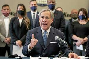 "Texas Gov. Gov. Greg Abbott speaks at a news conference before signing a ""Texas Backs the Blue Pledge"" at the Austin Police Association on Thursday Sept. 10, 2020, in Austin, Texas. ( Jay Janner/Austin American-Statesman via AP)"