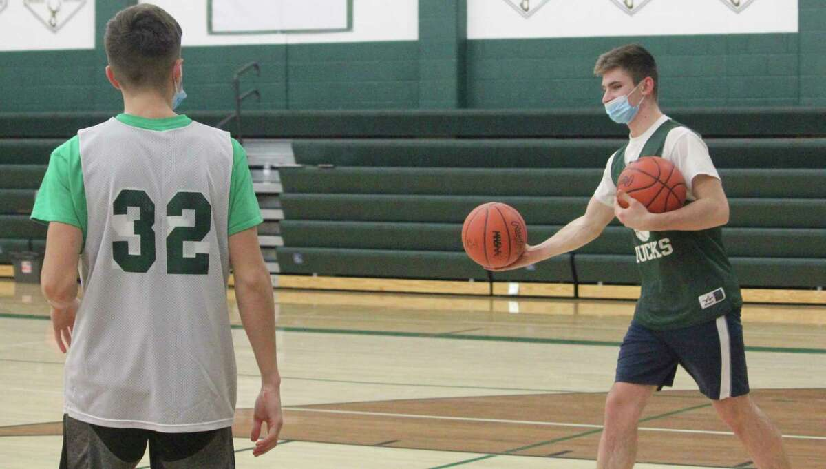 Pine River basketball players get ready for a practice on Wednesday. (Pioneer photo/John Raffel)