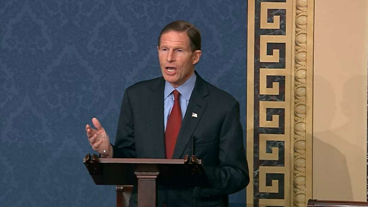 WASHINGTON, DC - JANUARY 6: In this screenshot taken from a congress.gov webcast, Sen. Richard Blumenthal (D-CT) speaks during a Senate debate session to ratify the 2020 presidential election at the U.S. Capitol on January 6, 2021 in Washington, DC. Congress has reconvened to ratify President-elect Joe Biden's 306-232 Electoral College win over President Donald Trump, hours after a pro-Trump mob broke into the U.S. Capitol and disrupted proceedings. (Photo by congress.gov via Getty Images)