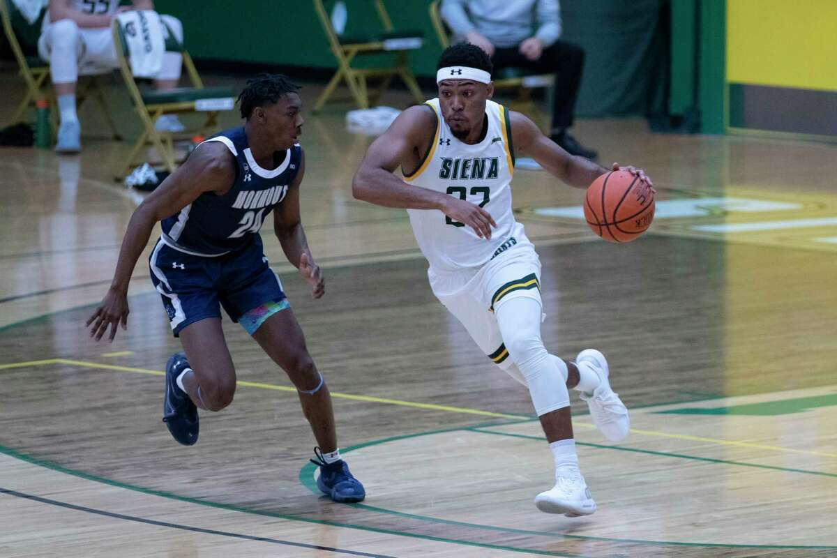 One benefit of Siena's latest pause for COVID-19 has been guard Jalen Pickett, right, has gotten time to rehabilitate his hamstring injury.