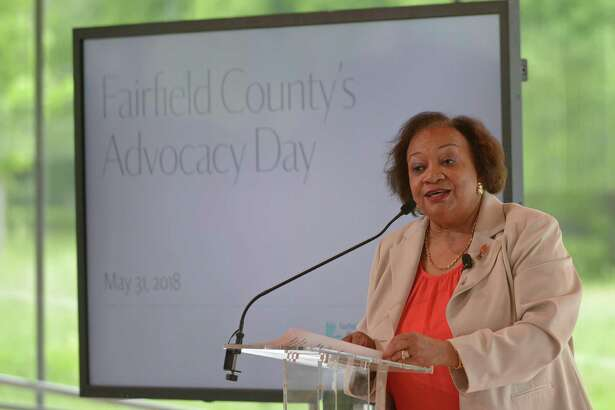 The Fairfield County Community Foundation CEO Juanita James welcomes representatives of area nonprofits to during Advocacy Day at Grace Farms in New Canaan in 2018.