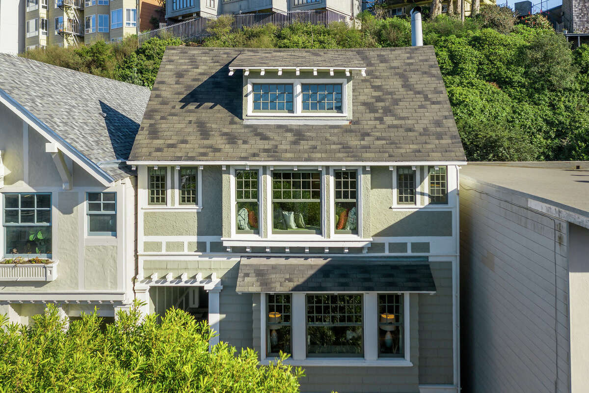 The Cole Valley home's classic Craftman facade faces a stunning bay view.