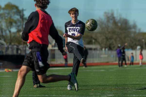 Jason Lovejoy (7) puts the ball in the net during drills as the Port Neches-Groves Indians boys soccer team practices at the school on Thursday, February 27, 2020. Fran Ruchalski/The Enterprise