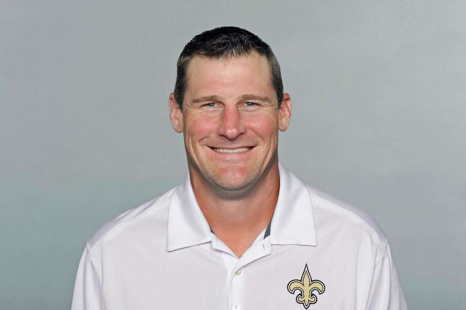 FILE - This is a 2016 file photo showing Dan Campbell of the New Orleans Saints NFL football team. The Detroit Lions have agreed to terms with Dan Campbell to be their coach. The Lions announced the agreement with the New Orleans Saints tight ends coach on Wednesday, Jan. 20, 2021, one day after formally introducing Brad Holmes as their general manager. (AP Photo/File) / NFLPV AP