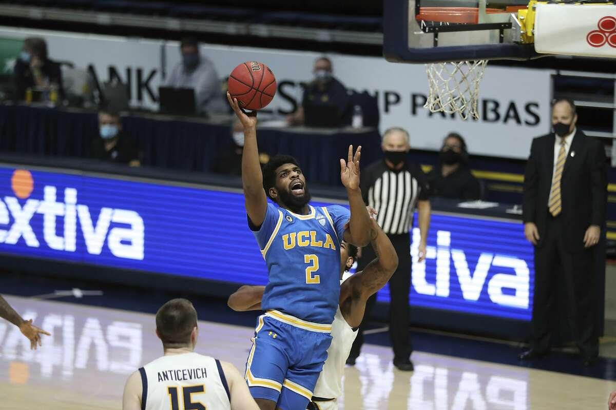UCLA's forward Cody Riley shoots against California during the first half of an NCAA college basketball game in Berkeley, Calif., Thursday, Jan. 21, 2021. (AP Photo/Jed Jacobsohn)