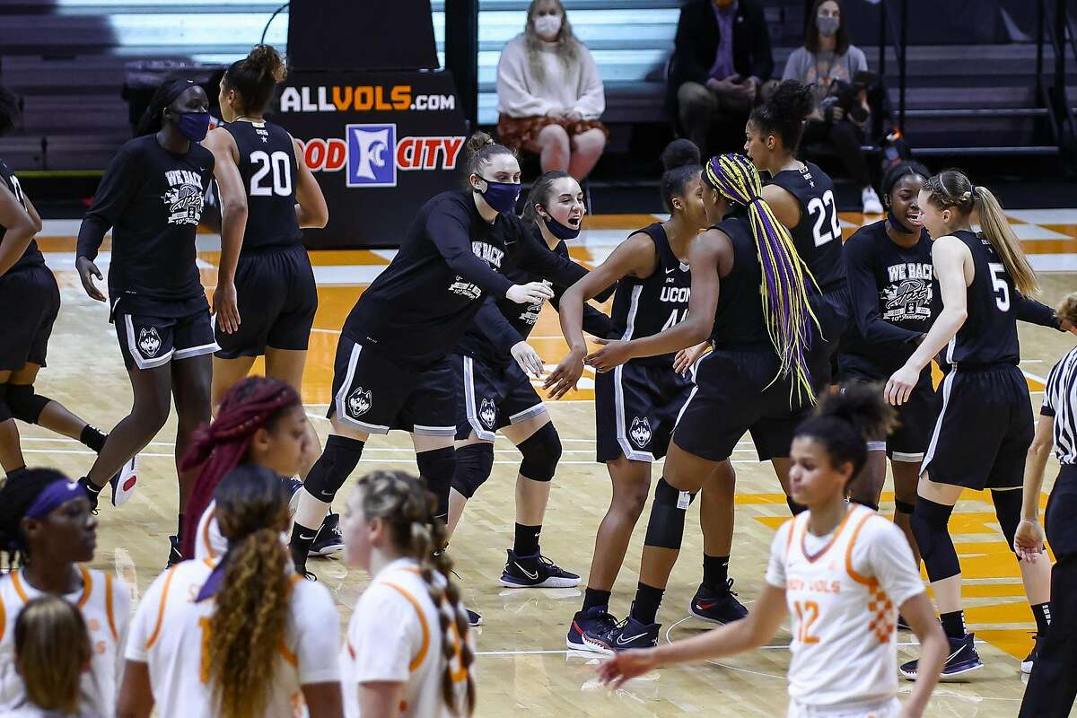Jan 21, 2021; Knoxville, Tennessee, USA; The UConn Huskies react to a play against the Tennessee Lady Vols during the second half at Thompson-Boling Arena. Mandatory Credit: Randy Sartin-USA TODAY Sports