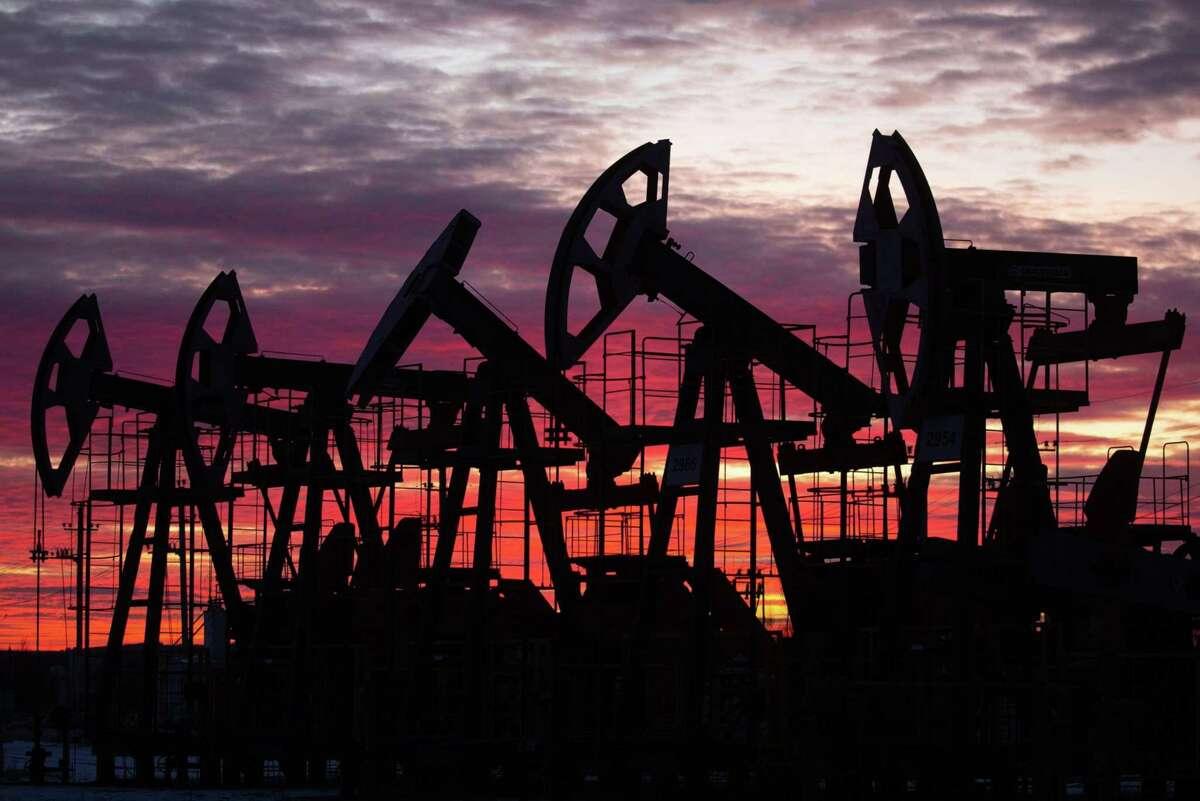 Oil pumping jacks near Neftekamsk, in the Republic of Bashkortostan, Russia, on Nov. 19, 2020.