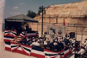 """The Guadalupe-Blanco River Authority shared this throwback and other photos in a post Jan. 22, 2021. We enjoy a #FBF just as much as the next person. In this photo, we take you back to the Canyon Lake Dam dedication. The year is 1966, on April 19, and roughly, 3,000 people attended a noon barbecue. Speeches were presented by Governor John Connally. A newspaper article describe the Governor's remarks,""""Texans should always conserve, protect and enhance the state's natural resources."""" #ALookBackinHistory"""