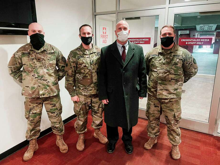 Congressman John Moolenaar meets with members of the Michigan National Guard serving in Washington D.C. this week. (Courtesy photo)