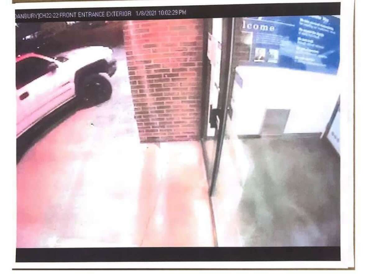 Police say this is the vehicle that crashed into Webster Bank on Main Street in Danbury, Conn., on Thursday, Jan. 7, 2021.