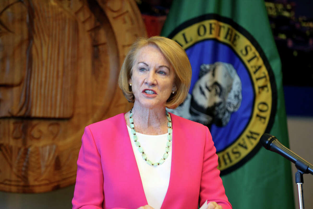 Seattle Mayor Jenny Durkan speaks at a press conference after Seattle Police Chief Carmen Best announced her resignation at Seattle City Hall on August 11, 2020 in Seattle, Washington.