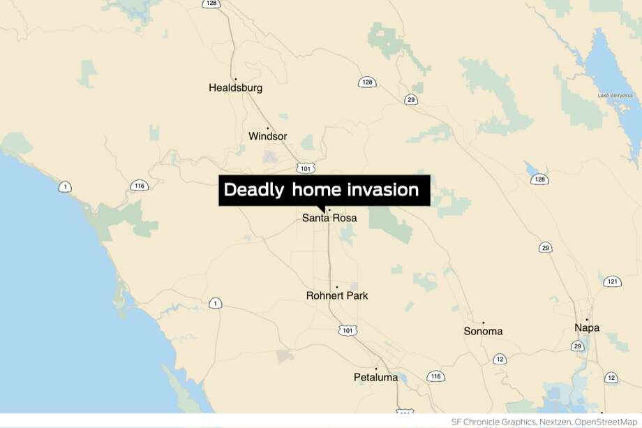 A Santa Rosa man overpowered three home invaders, stabbing one of them to death, after managing to wield a shotgun away from one of his attackers in a bloody attack that began with an online date, police said. Photo: S.F. Chronicle Graphics, Nextzen, OpenStreetMap
