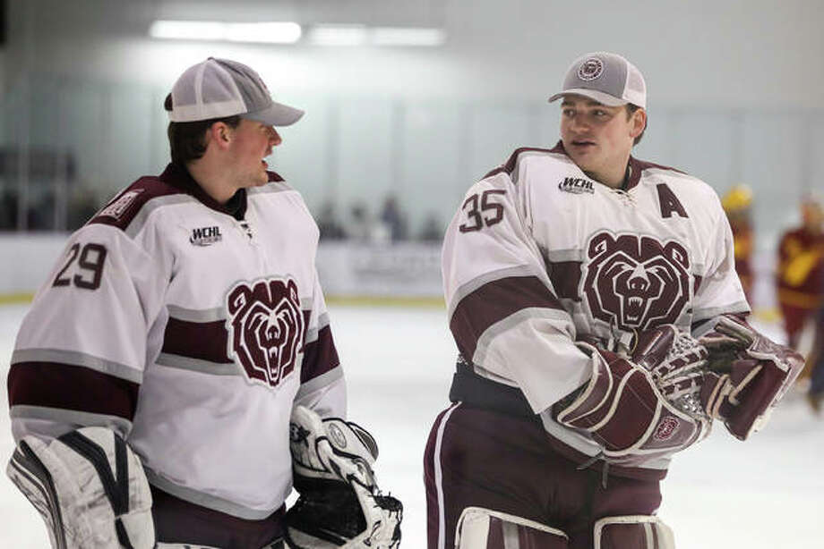 Matt, left, and Brady Griffin are playing for the Missouri State Ice Bears this season. It's the first time the brothers and EHS grads have played on the same team. Photo: Michael Cignoli|For The Intelligencer