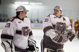 Matt, left, and Brady Griffin are playing for the Missouri State Ice Bears this season. It's the first time the brothers and EHS grads have played on the same team.