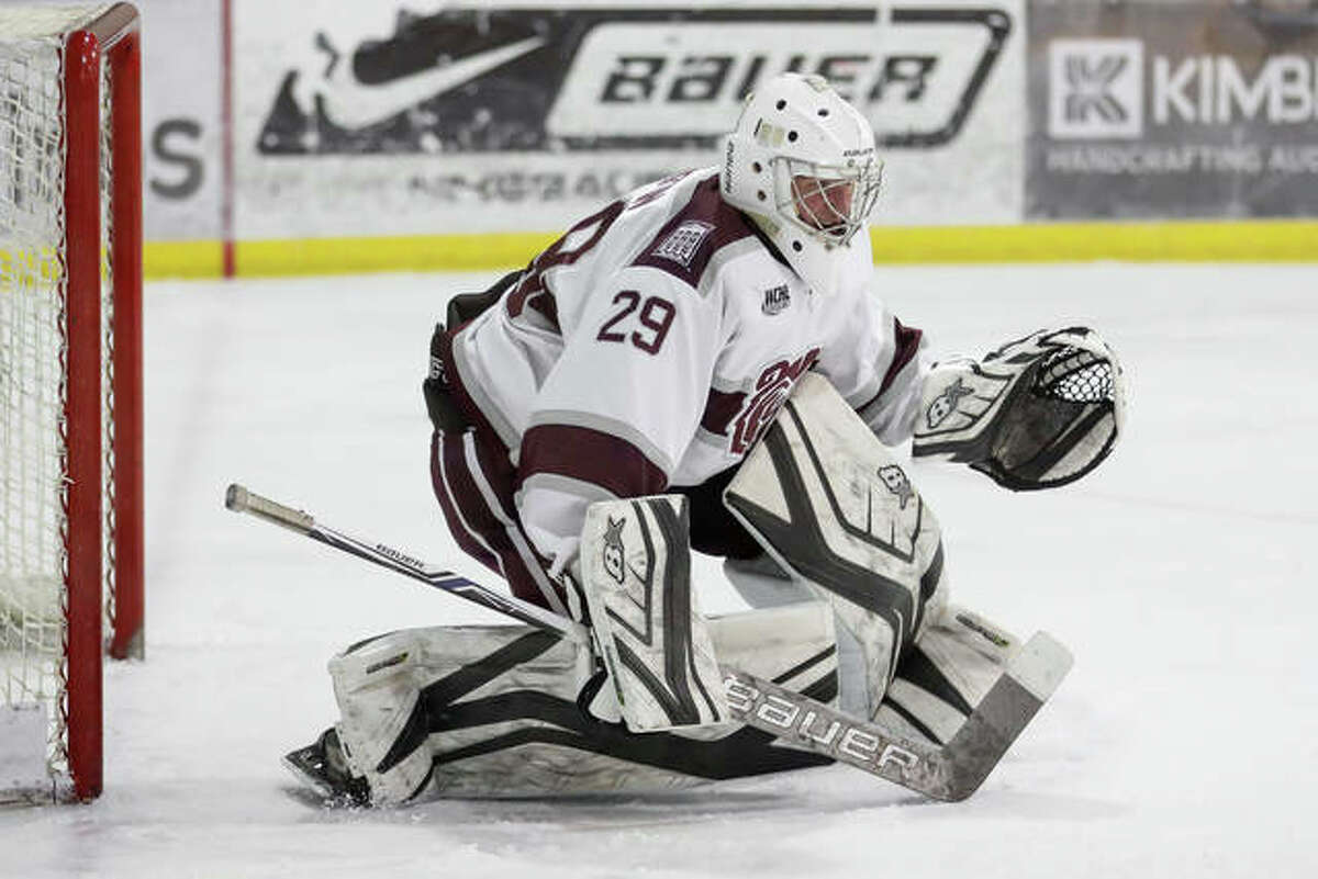 Missouri State goalie Matt Griffin positions himself during a game for the Ice Bears.