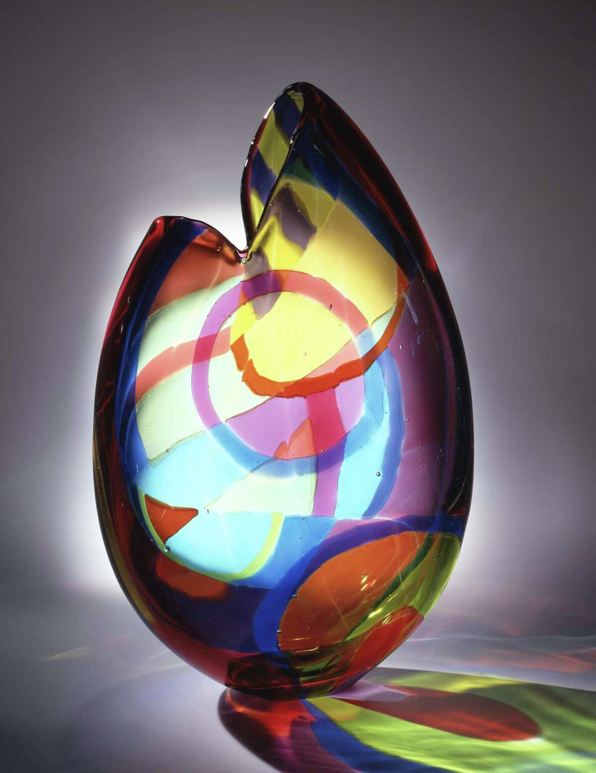 A glass vessel made by Norwalk artist Dorothy Hafner, who began working with glass after being inspired by a trip to the Great Barrier Reef.