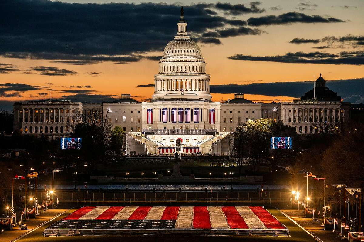 The U.S. Capitol and National Mall on the morning of Inauguration Day.