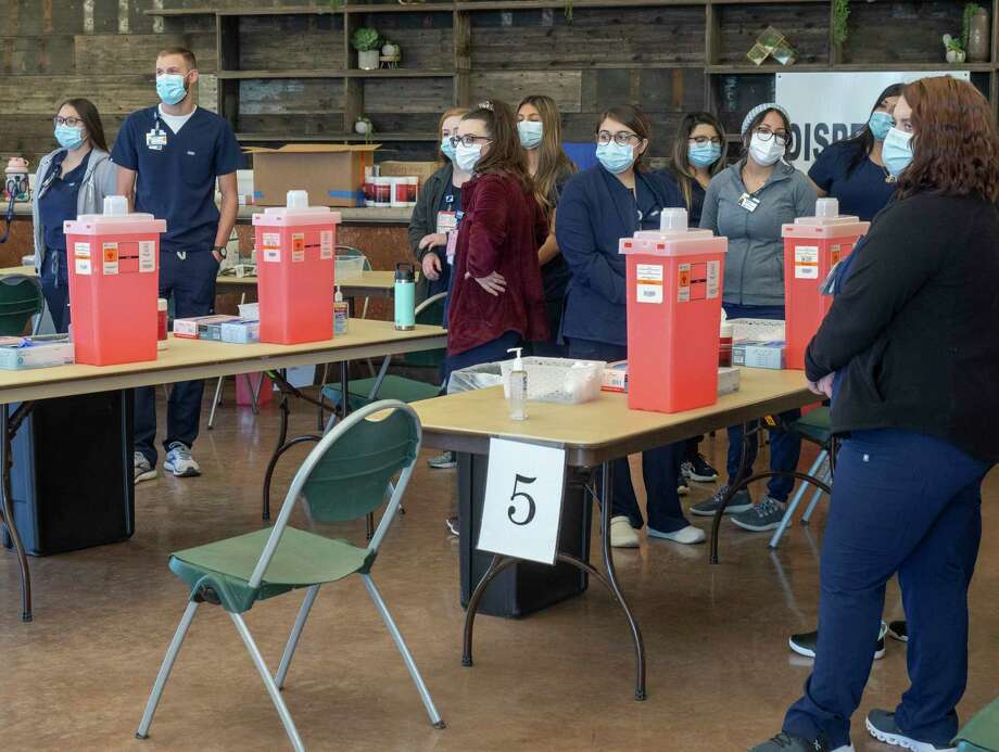 Eight stations have been set up to give the shot in the backstage pavilion 01/22/2021 and will be manned by nurses from around the region. Tim Fischer/Reporter-Telegram Photo: Tim Fischer, Midland Reporter-Telegram