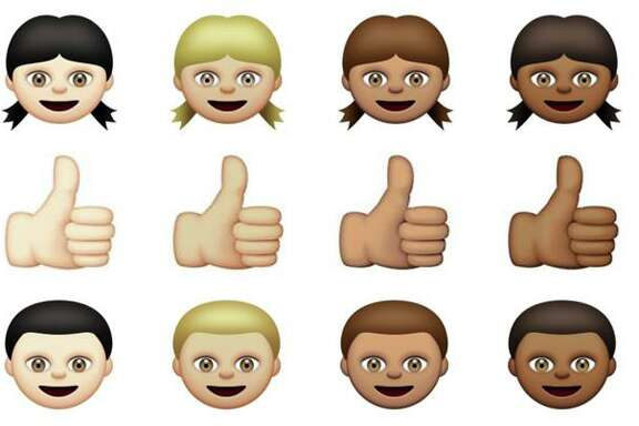 """This combination made from images provided by Apple Inc. shows some of its diverse emojis. A League City woman says Apple's racially diverse emoji line is """"substantially similar"""" to those in an app she developed seven years ago. Now, she's suing the tech giant for damages."""