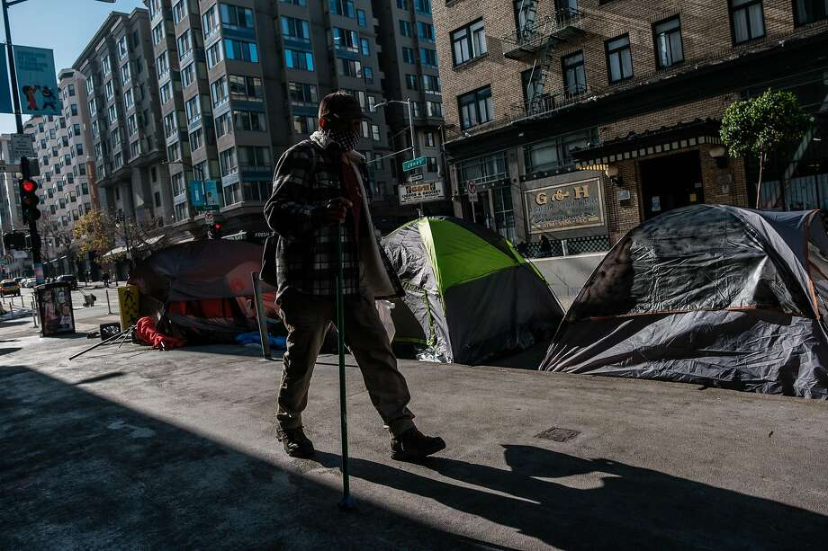 More tents have been popping up on Tenderloin sidewalks, including at the corner of Jones and Turk streets, after the city improved the neighborhood. Photo: Nick Otto / Special To The Chronicle