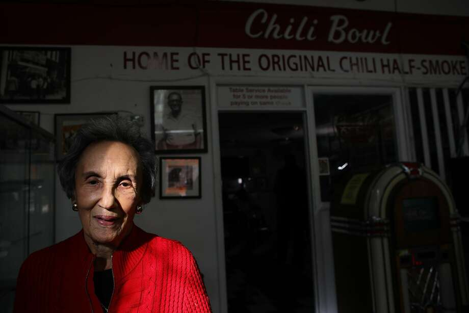 """Virginia Ali, 87, owner of Ben's Chili Bowl, poses for a photo in her restaurant on Tuesday, January 19, 2021, in Washington, D.C. Ali reflects on what her experience will be like when Kamala Harris is sworn in as the first female Black and South Asian American to become Vice President of the United States.  """"I'm just overwhelmed with happiness and pride. You know at 87, first of all, I had an opportunity to meet with Dr. (Martin Luther) King back when he was fighting with the civil rights movement. And he would come into Washington, I'd get an opportunity to chat with him sometimes. And then to live long enough to see us elect an African American president in President (Barack) Obama and serve two terms. And now, to have a female woman of color elected as Vice President of the United States of America is a dream come true for me,"""" Ali said.  """"The example that she sets for the young girls today is immeasurable. It's just absolutely immeasurable. She's an amazing woman. I've read about her. I know her. She went to Howard University and she's done a great job in California. So we welcome her and we're proud of her and we're going to do all we can to support her as Vice President and our President (Joe Biden) as well. Like Jack Kennedy said, 'Don't ask what your country can do for you, ask what you can do for your country.' So if we all come together and work together and unite, we can make this a beautiful country."""" Photo: Yalonda M. James / The Chronicle"""