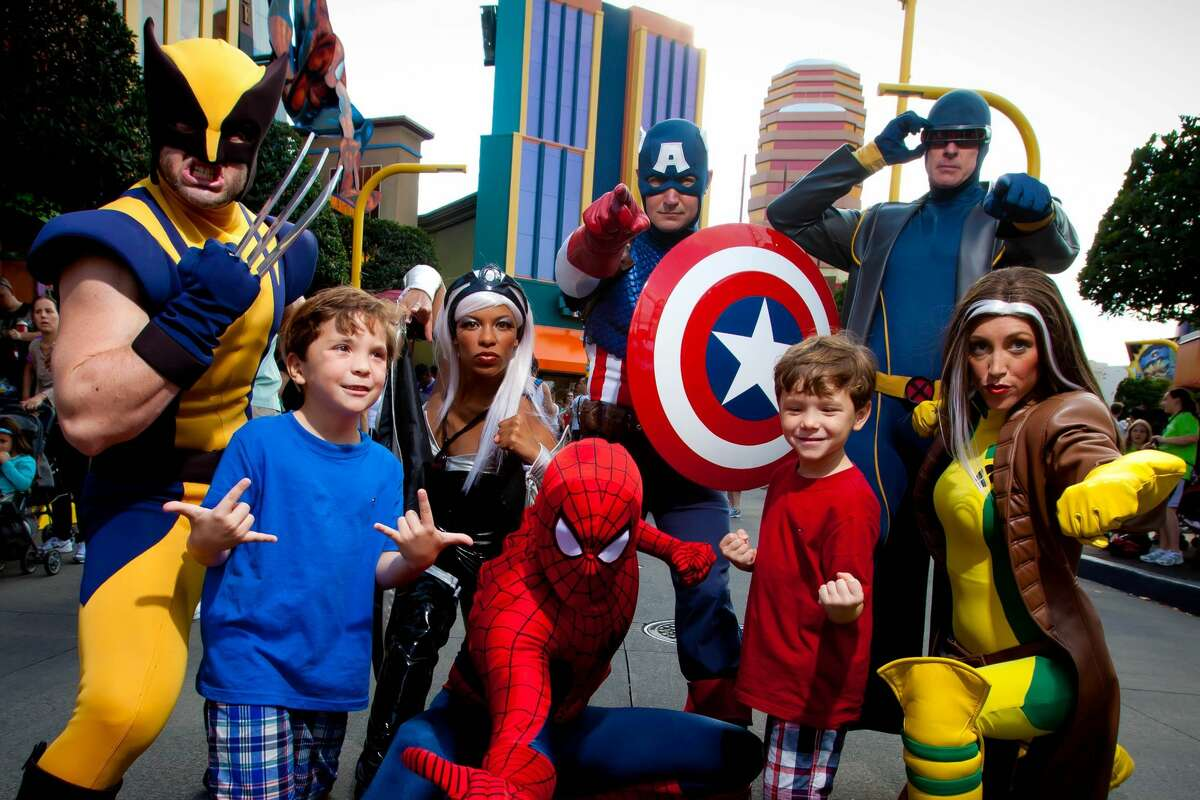 Superheroes at Marvel Super Hero Island at Universal's Islands of Adventure in Orlando, Fla.