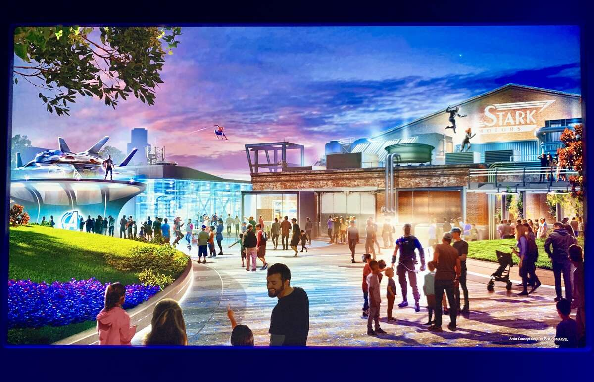 A rendering of Avengers Campus from the 2019 D23 Expo in Anaheim, Calif.