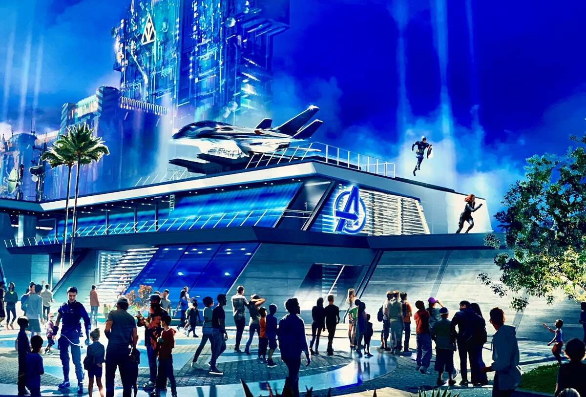 A rendering of Avengers Headquarters from the 2019 D23 Expo in Anaheim, Calif.
