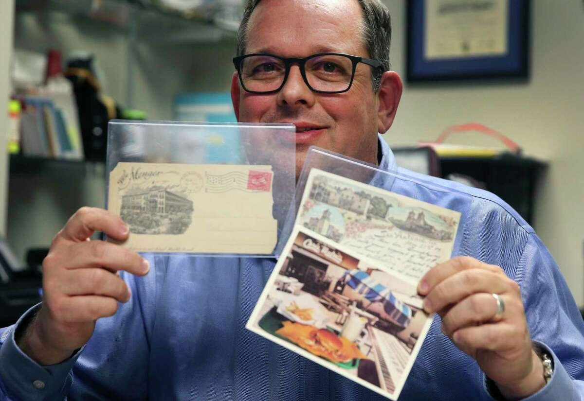 Joseph Cooper owns more than 10,000 vintage San Antonio postcards, including one of the oldest known postcards in San Antonio, one of the Menger Hotel (left) that dates back to 1898.