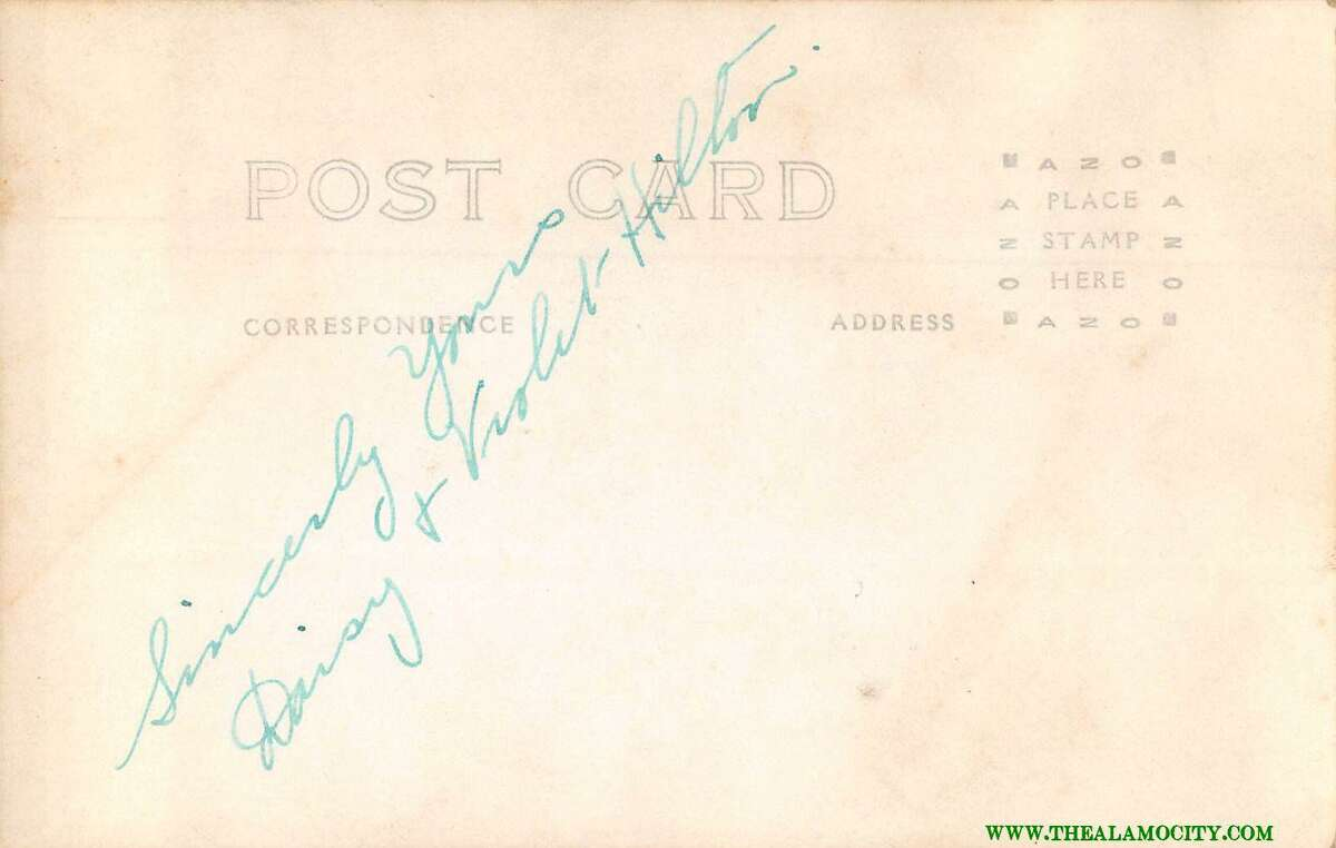 The back of the autographed postcard by conjoined twins Violet and Daisy Hilton, who in the 1920s were billed as the San Antonio Siamese Twins. Postcard owner Joseph Cooper said he has no idea which one of them signed the card.