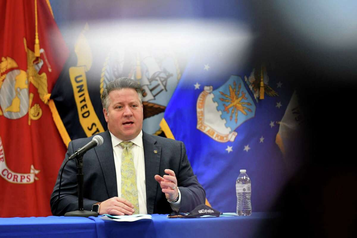 Albany County Executive Dan McCoy holds a county coronavirus news briefing on Friday, Jan. 22, 2021, in Albany, N.Y. The county reported 22 new hospitalizations and five additional COVID-related deaths. (Will Waldron/Times Union)