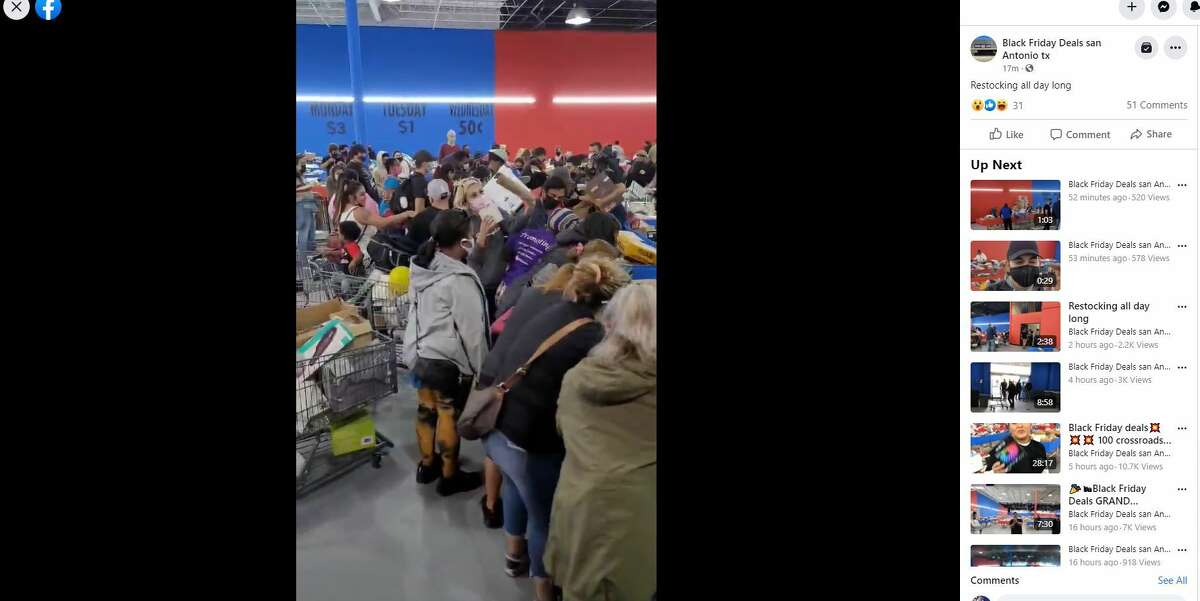 Photos of a Facebook video show people crowding around bins at the Black Friday Deals and Discounts Store that celebrated a grand opening Friday, Jan. 22, 2021.
