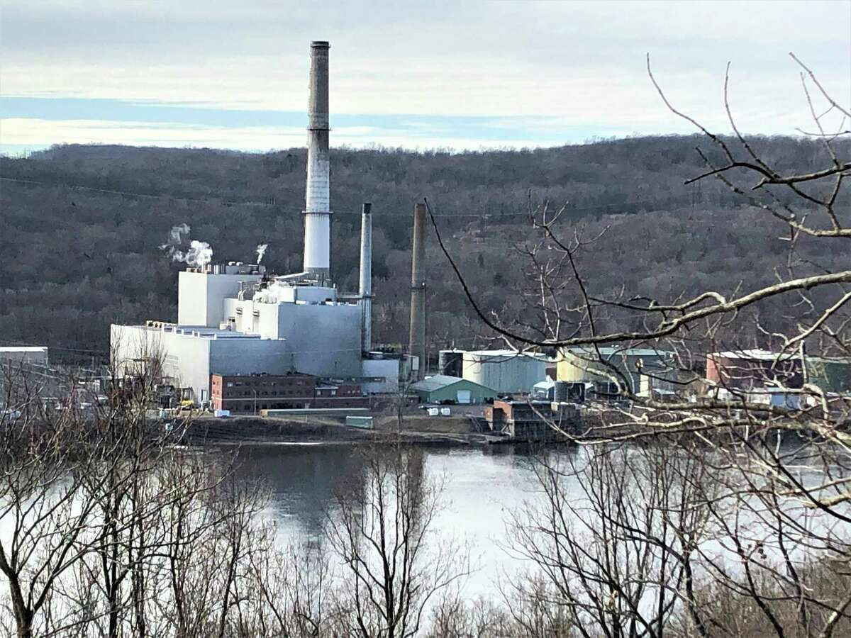 The NRG plant at 1866 River Road in Middletown is shown from the east shore of the Connecticut River from the vantage point of the Airline Trail.