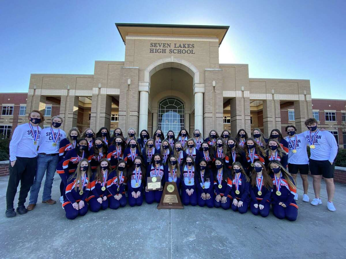 The Seven Lakes High School varsity cheerleaders won the 2021 Conference 6A-D1 UIL State Spirit Championship in January. The full cheer team and flag men are pictured here.