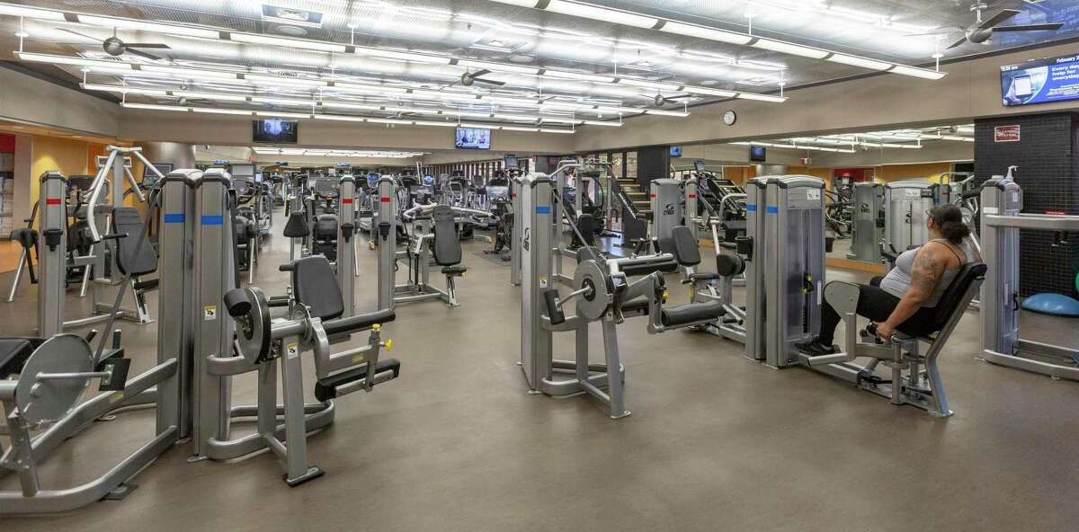 A fitness center is seen Wednesday, Feb. 26, 2020 in USAA's headquarters building. The center is one of several perks the Fortune 500 company offers to employees in its headquarters building.