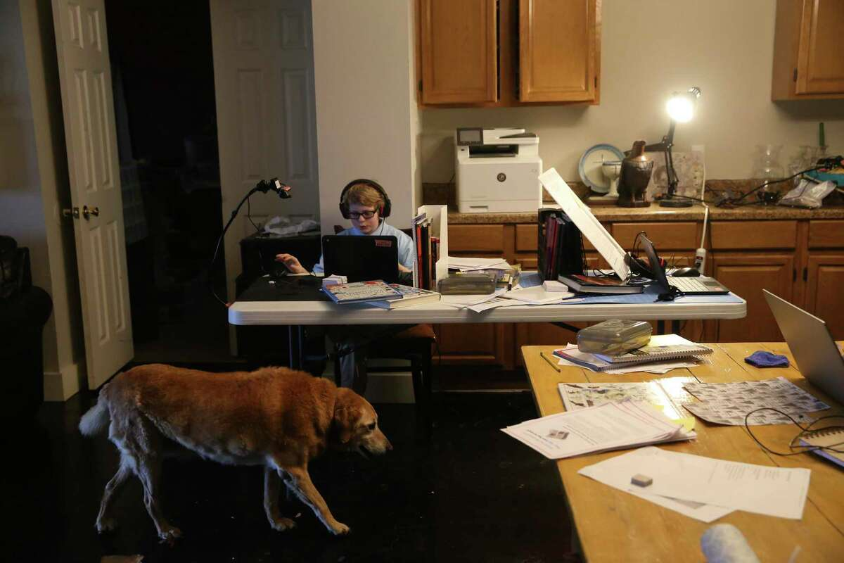 Judah Ryan, 11, makes his science project presentation Friday as the family dog, Hermione, a 14-year-old golden retriever, walks by. Ryan is a 5th grader at Great Hearts Online a charter school. Kids in remote learning are falling behind, especially in math. Some school districts have tested students to gauge the so-called COVID slide.