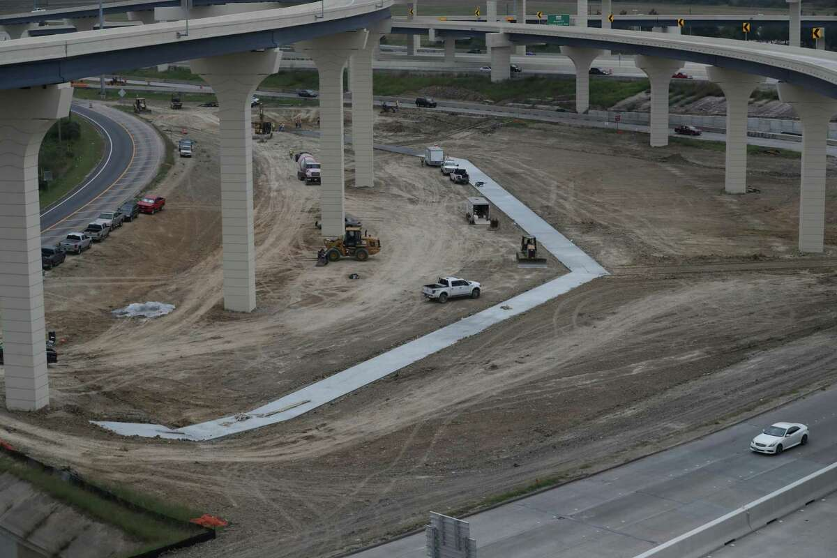A view looking south from the ramp from the southbound Texas 288 Tollway to the eastbound Sam Houston Tollway on Nov. 13, 2020, in Houston.