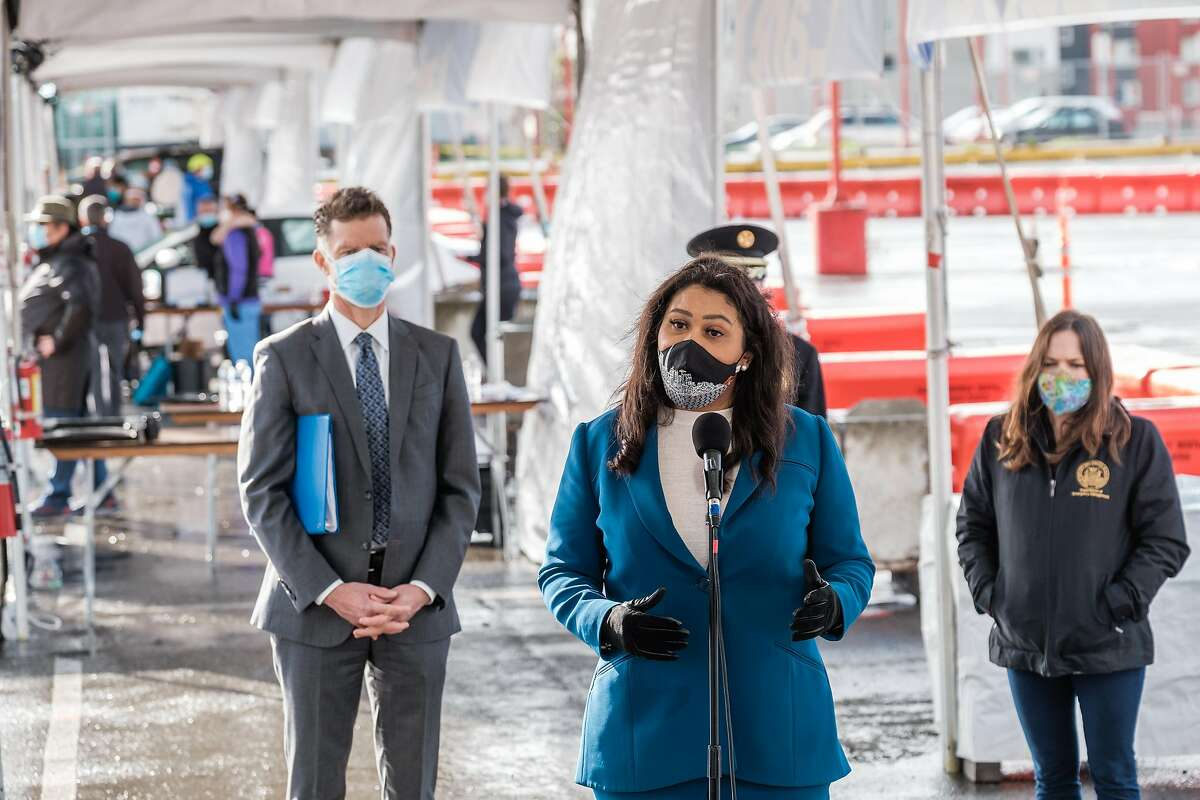 Mayor London Breed speaks to the press during the soft opening of a mass vaccination center at City College in San Francisco on Friday, January 22, 2021.