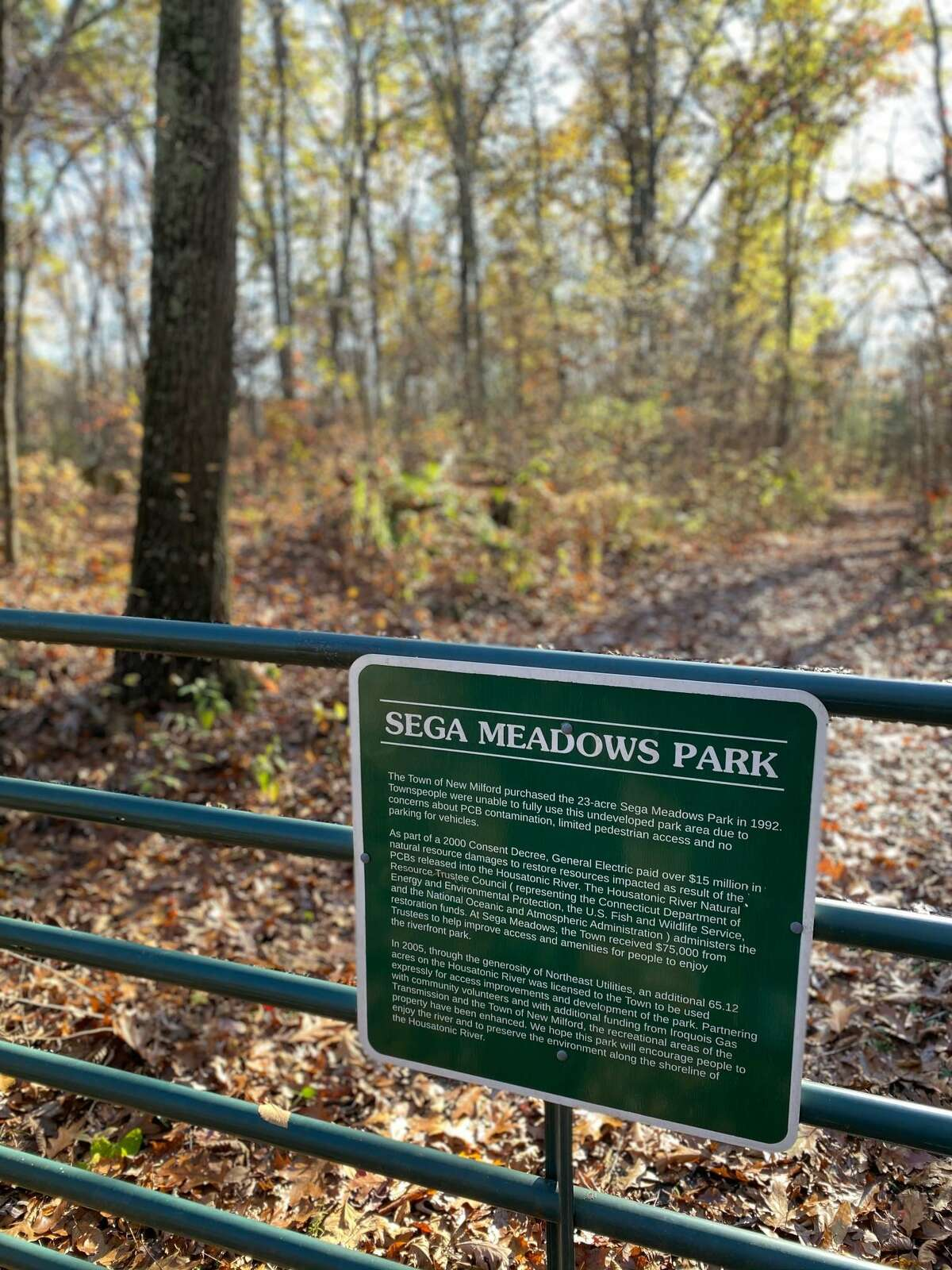 Spectrum/The town of New Milford has numerous town parks, each with their own special features, including trails, picnic tables and more. Sega Meadows Park off Boardman Road offers beautiful trails through wooded areas. Nov. 1, 2020