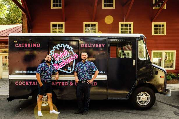 Aaron Stepka, left, and Taylor Gillaspie started Drink Mechanics, a canned cocktail delivery service, over the summer.