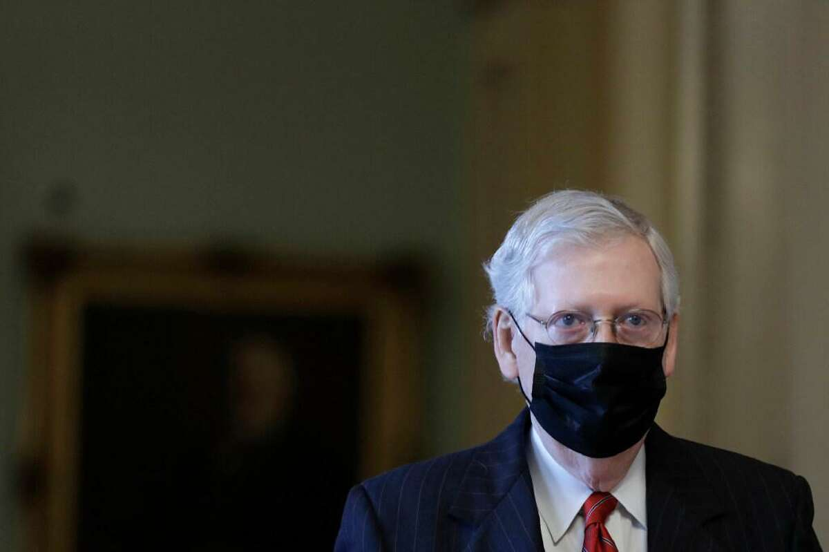 U.S. Senate Majority Leader Mitch McConnell (R-KY) walks to his office on Capitol Hill in Washington on September 17, 2020.