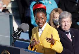 Youth Poet Laureate Amanda Gorman speaks at the inauguration of President Joe Biden on the West Front of the U.S. Capitol on Jan. 20, 2021, in Washington, D.C. (Alex Wong/Getty Images/TNS)