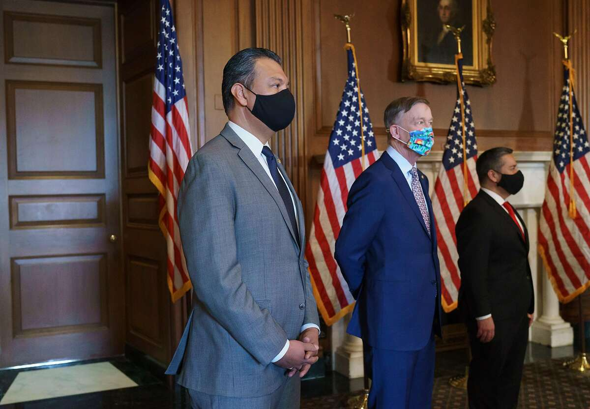 New Democratic Sens. Alex Padilla, D-Calif. (left), who took the seat vacated by Vice President Kamala Harris, John Hickenlooper, D-Colo., and Ben Ray Lujan, D-N.M.